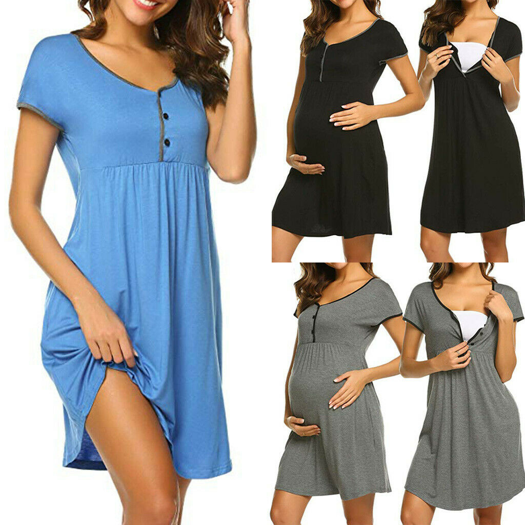 Women Pregnant Maternity Summer Solid Short Sleeve Short Dress Nursing Nightgown Jewels Of Life